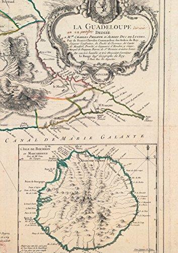 Carnet ligné Carte de la Guadeloupe, Le Rouge, 1753 (Bnf Cartes/Plans)