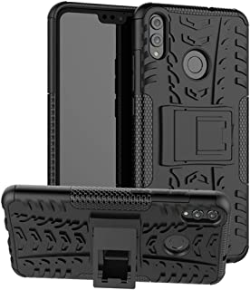 Huawei Honor 8X Case, Yiakeng Dual Layer Shockproof Wallet Slim Protective with Kickstand Hard Phone Case Cover for Huawei Honor 8X (Black)