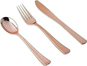 "Wedding Venue Shop""Plastic Silverware Cutlery Set - 8"""" & 7""""   Disposable   Blush/Rose Gold   Pack of 30"""
