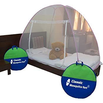 Classic Mosquito Net Classic Foldable Mosquito Net (Single Bed)With Free Saviours - (Pink)