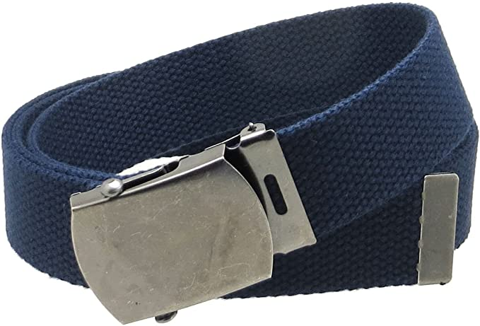 """Canvas Web Belt Military Style Antique Silver Buckle/Tip Solid Color 50"""" Long"""