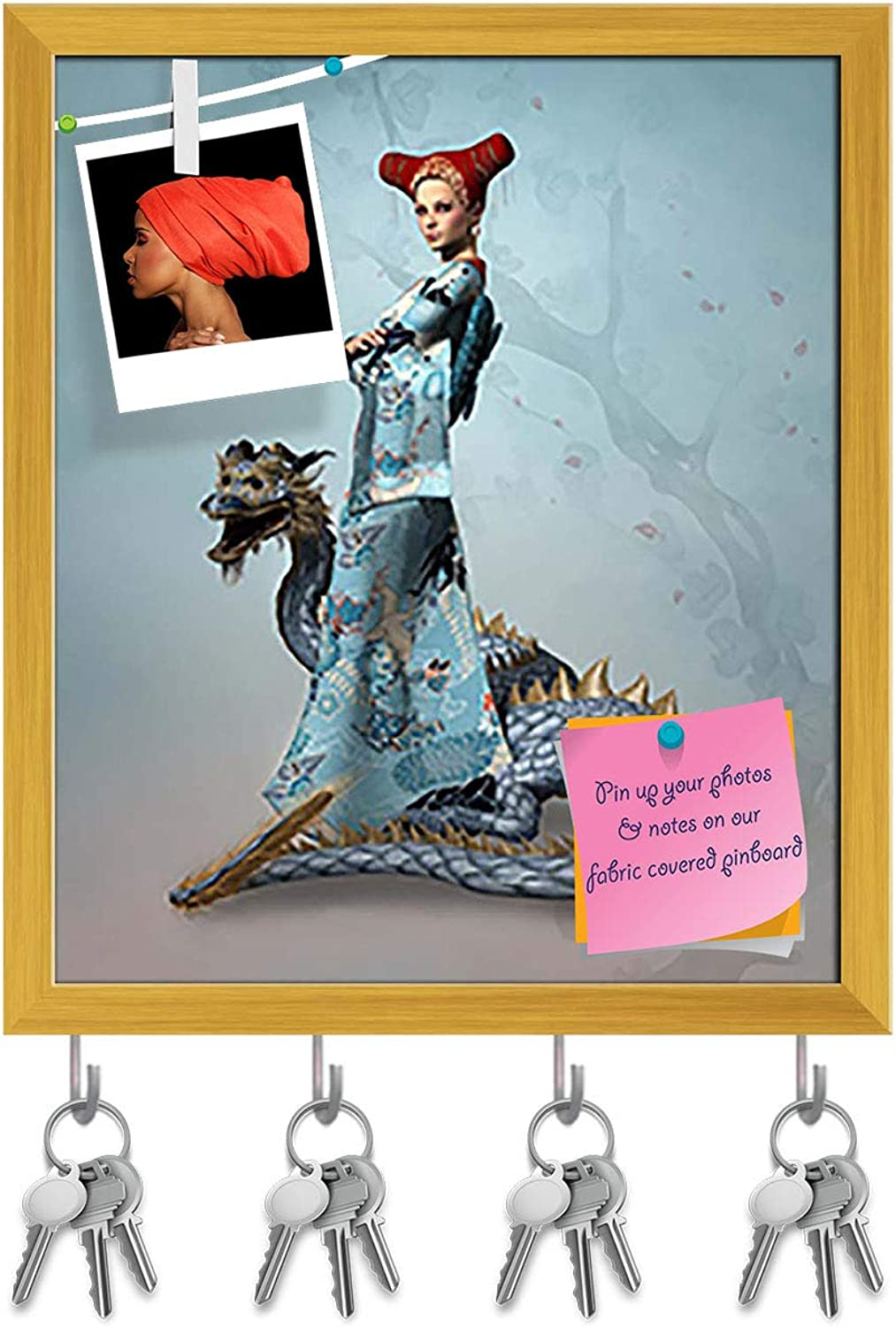 Artzfolio Eastern Woman with Dragon Key Holder Hooks   Notice Pin Board   golden Frame 16 X 18.7Inch