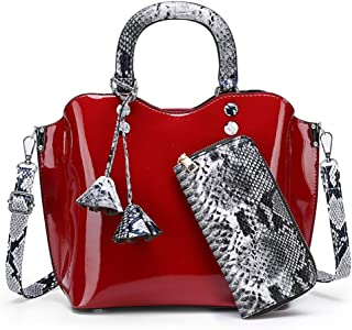 Wultia - Luxury Patent Leather Handbags 3PCS Lacquered Shoulder Crossbody Bag Casual Tote Messenger Bags Set Clutch Feminina #G8 Red