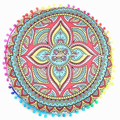 Viahwyt Housse de coussin ronde avec motif mandala indien (B)