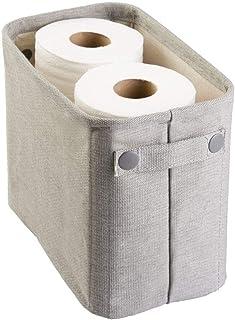 mDesign panier de rangement en coton – rangement papier toilette – range serviettes – large – en coton et en plastique – g...