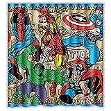 QPM Bad Duschvorhänge Marvel Comics Superhelden Umweltfre&liches wasserdichtes Gewebe Waschbare Dusche, 120Wx180H cm