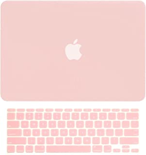 TOP CASE - 2 in 1 Signature Bundle Rubberized Hard Case and Rose Quartz Keyboard Cover Compatible MacBook Air 11
