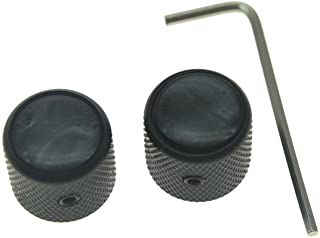 KAISH Set of 2 Black Pearl Top Guitar Dome Knobs with Set Screw for Tele Guitars Black Pearl Cap Bass Black Knobs