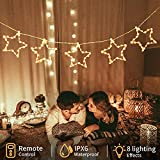 5 Stars 125 LED 17ft Fairy String Lights,USB Powered, Two Control Methods with 8 Modes, for Home Garden Wedding Party Christmas Bedroom Outdoor& Indoor Wall Decorations (Warm White) JMTGNSEP