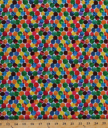 Cotton Colorful Dots Rainbow Circles Chalk-Look The Very Hungry Caterpillar Eric Carle Kids Cotton Fabric Print by The Yard (3474M)