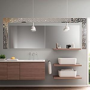 decalmile 32 Pieces Acrylic Mirror Wall Stickers Geometric Greek Key Pattern 3D DIY Wall Decals Living Room Bedroom Home Wall Art Decor(10cm X 10cm)