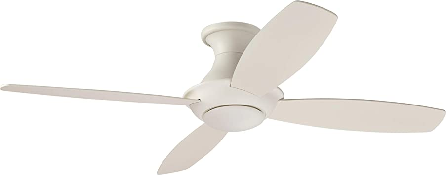 Amazon Brand Stone Beam Modern Remote Control Flush Mount Ceiling Fan With Integrated Led Light 52 X 52 X 11 54 Inches White Amazon Com