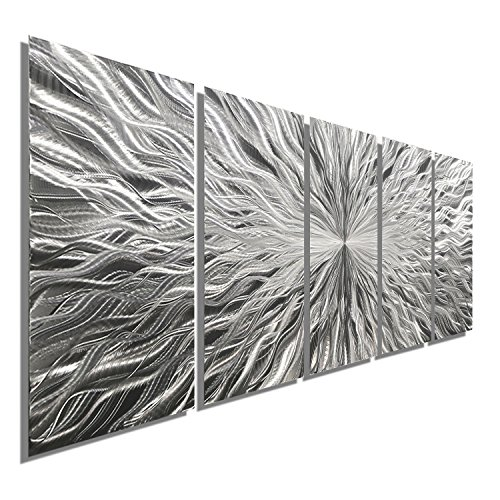 Statements2000 Large Silver Metal Wall Art Sculpture - Multi Panel Abstract Wall Decor by Jon Allen - Vortex 5P - 64""