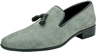 HiREL'S Men Grey Suede Leather Tassel Mocassion Loafers
