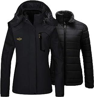 Wantdo Women`s 3 in 1 Ski Jacket Waterproof Raincoat with Removable Puffer Inner