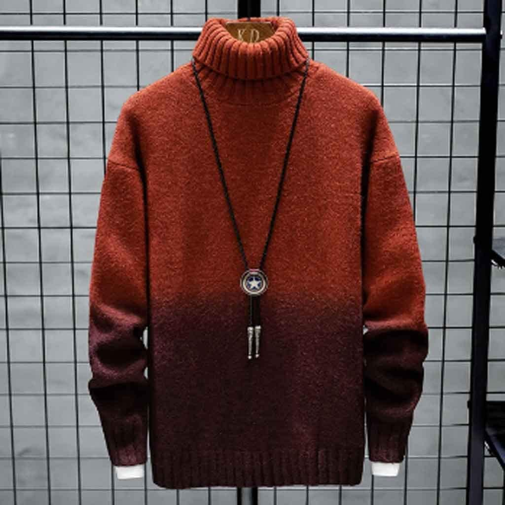 ZYING High-Neck Cashmere Men's Sweater New Winter Patchwork Slim-fit Sweater Men's Thick Warm Sweater and Pullover for Men (Color : M Code)