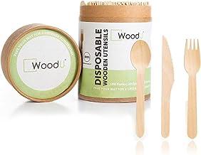 مجموعة أدوات المائدة الخشبية للاستعمال مرة واحدة، طبيعية بالكامل، صديقة للبيئة، قابلة للتحلل الحيوي، وقابلة للتحلل البيولو...