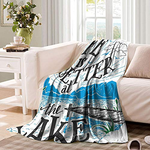 Cabin Decor Queen Size Baby Blanket Life is Better at the Lake Wooden Pier Plants Mountains Outdoors Sketch Microfiber Comfort Gift Throw for Bed Couch and Living Room 80'x60' Blue Black Green