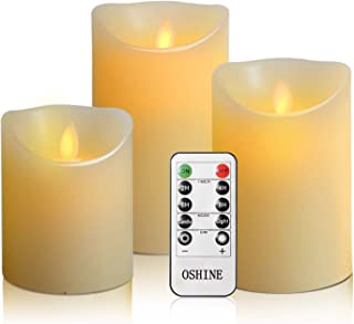 "OSHINE flameless Candles, flameless Candlestick, flameless Battery Candles, Battery Remote Control Candles, LED Candles 3 Piece Set 4""5""6""H (3.15""D) Flash Flame with Remote Control and timed True Wax"