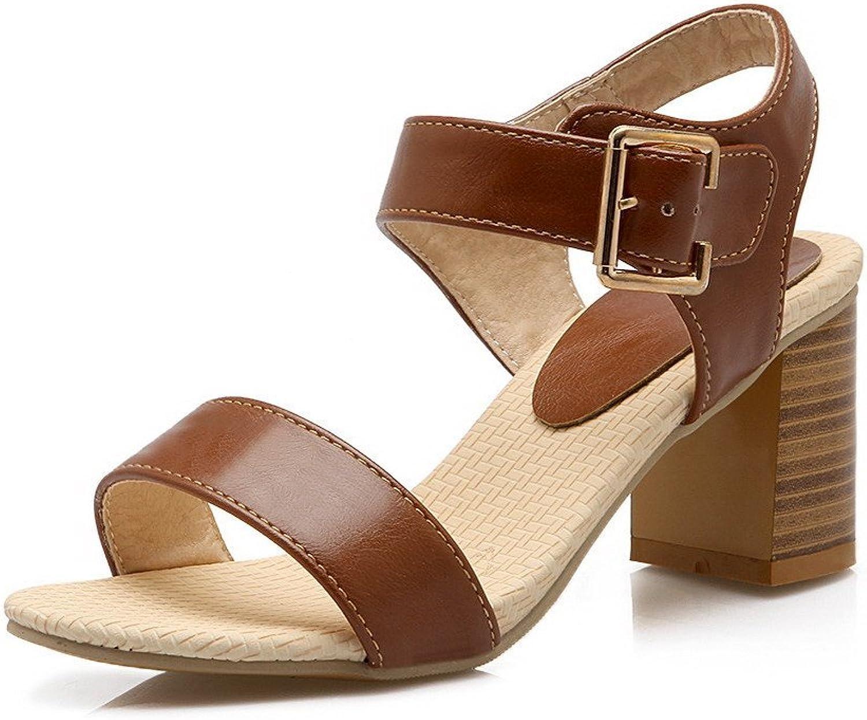 WeenFashion Women's Solid Pu Kitten Heels Buckle Sandals