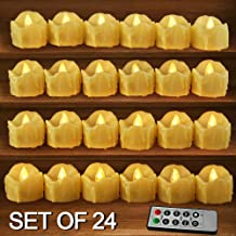 HOME MOST Set of 24 LED Votive Candles with Remote and Timer (CREAM) - LED Flameless Votive Candles Flickering - Wedding Votive Candles Battery Operated Bulk Rustic Wedding Decorations Reception Table