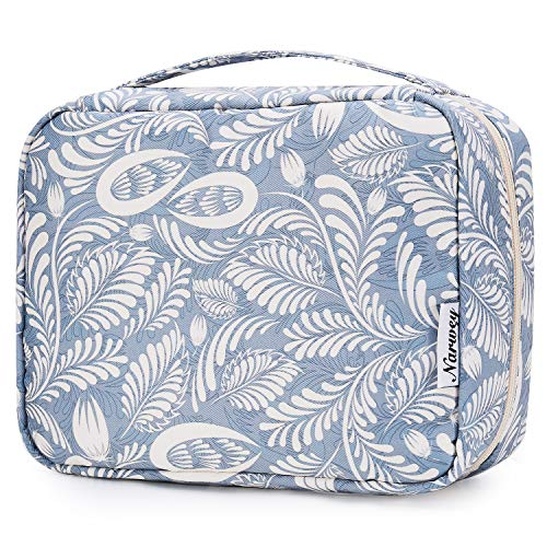 Hanging Travel Toiletry Bag Cosmetic Make up Organizer for Women and Girls Waterproof (Blue Leaf)