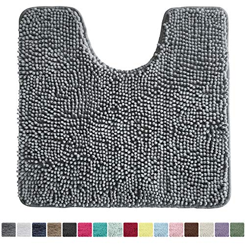 Kangaroo Original Shaggy Chenille Toilet Bath Rug, Oval U-Shape Contour Mat for Toilet, Washable, Mats Contoured for Toilets, Soft, Plush Carpet Rugs for Kids Tub, Shower, and Bathroom, Gray