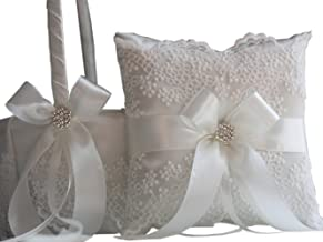 Wedding Flower Girl Basket & Ring Bearer Pillow Set by Alex Emotions (Off White)