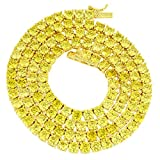 MASTER OF BLING 14k Gold Finish Tennis Link Necklace Canary Lab Diamonds 3 MM Men Women Chain 18 in