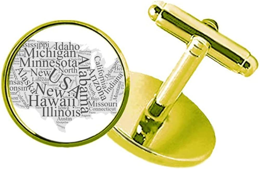 America USA Map City Wordcloud Low price Business Popular shop is the lowest price challenge Metal Studded Cufflinks