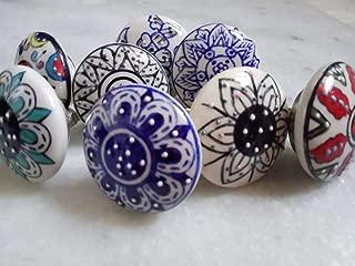 Set of 8 Premium Quality Decorative Hand Painted Pulls Flower Ceramic Knobs, Cabinet Drawer Knobs Cupboard Dresser Door Pull Decorative Furniture Hardware by Elegant_Designs