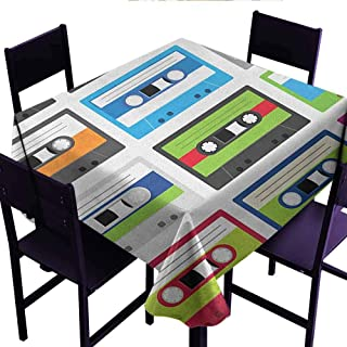 Bill Lloyd Decorative Table Cloth 90s,Collection of Retro Plastic Audio Cassettes Tapes Old Technology Entertainment Theme,Green Blue,for Events Party Restaurant Dining Table Cover 50