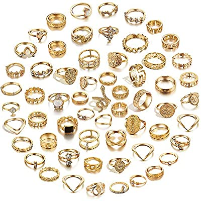 hefanny 64 Pcs Vintage Knuckle Rings Set Stackable Finger Rings Midi Rings for Women Bohemian Hollow Carved Flowers Gold&Silver Rings Crystal Joint Rings (1:60 PCS Gold)