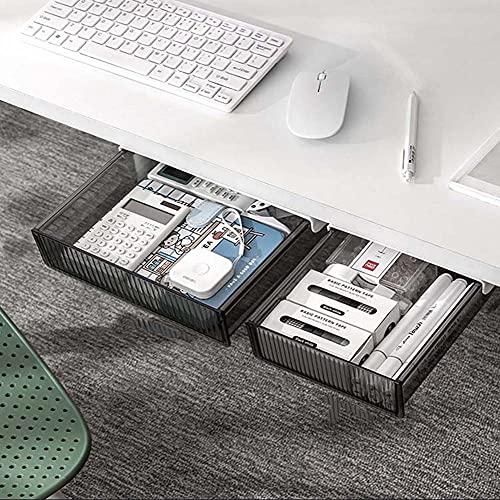 Organizador de escritorio oculto premium para colgar debajo del escritorio, organizador de escritorio invisible, bandeja de cajón autoadhesivo sin agujero en la mesa