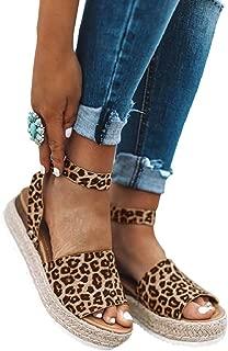 Womens Summer Snake Print Espadrilles Platform Wedge Sandals Open Toe Studded Ankle Buckle Shoes