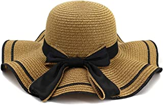 Summer hat Women Stalk Hat Summer Seaside Holiday New Sunshade Beach Hat Big Along The Hat Bow Sunscreen Sun Hat hat (Color : Coffee, Size : 56-58CM)
