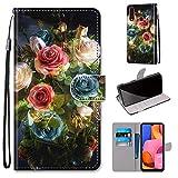 Miagon Flip PU Leder Schutzhülle für Samsung Galaxy A20S,Bunt Muster Hülle Brieftasche Case Cover Ständer mit Kartenfächer Trageschlaufe,Blühen Blume -