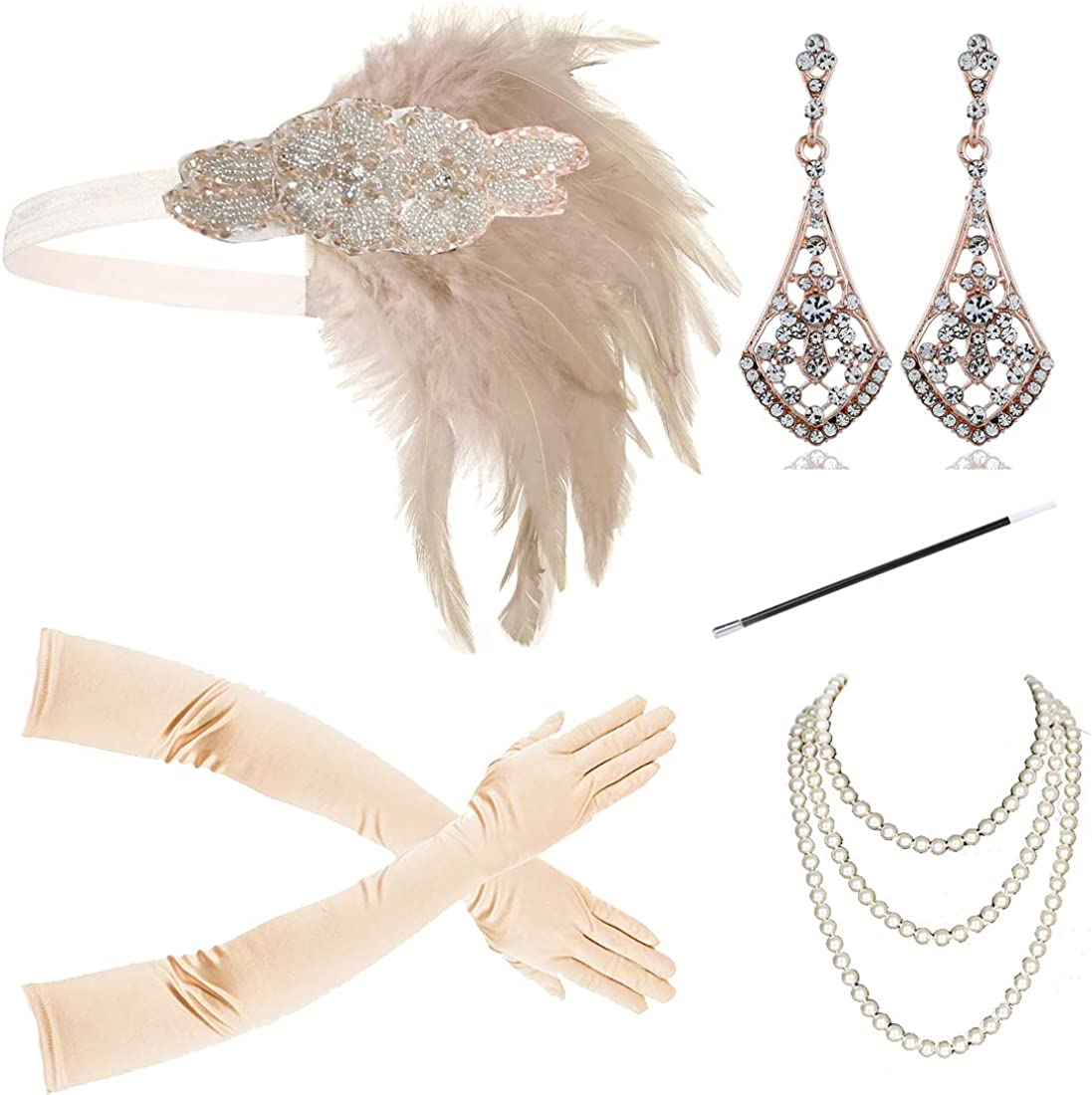 1920s New life Flapper Accessories Headband Easy-to-use Set Ac Gatsby Costume