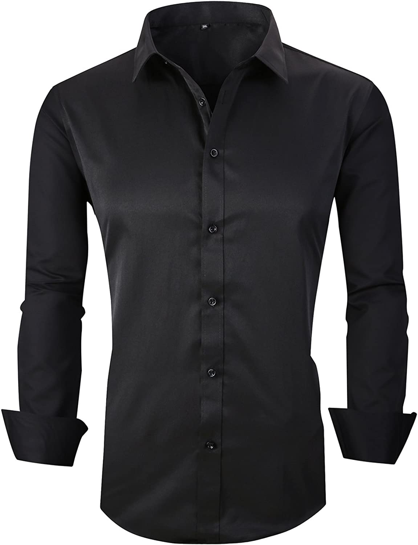 SHUIANGRAN Mens Dress Shirt Cotton Casual Regular Fit Long Sleeve Button Down Shirt