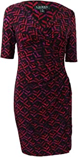 LAUREN RALPH LAUREN Women's Petite Geometric Printed Jersey V-Neck Dress