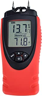 Moisture Meter by ennoLogic - Digital LCD Pin Type 7 Material Settings - Use for Wood Cement Mortar Brick Drywall Carpet - Backlight Hold Max Min Air Temperature and Holster - eH710T