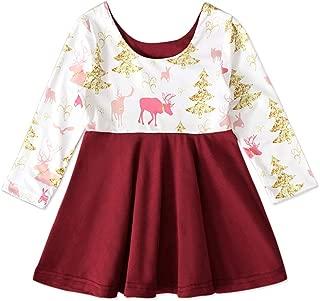 Xifamniy Infant Girls Long Sleeve Skirt Cartoon Pattern Contrast Color Festival Dress Red