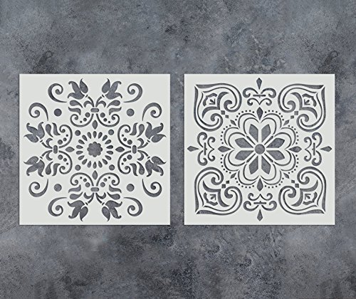 GSS Designs Pack of 2 Stencils Set (12x12 Inch) Painting for Wood Wall Furniture Floor Tiles Fabric Template - Reusable Art Painting Stencils(SL-010)