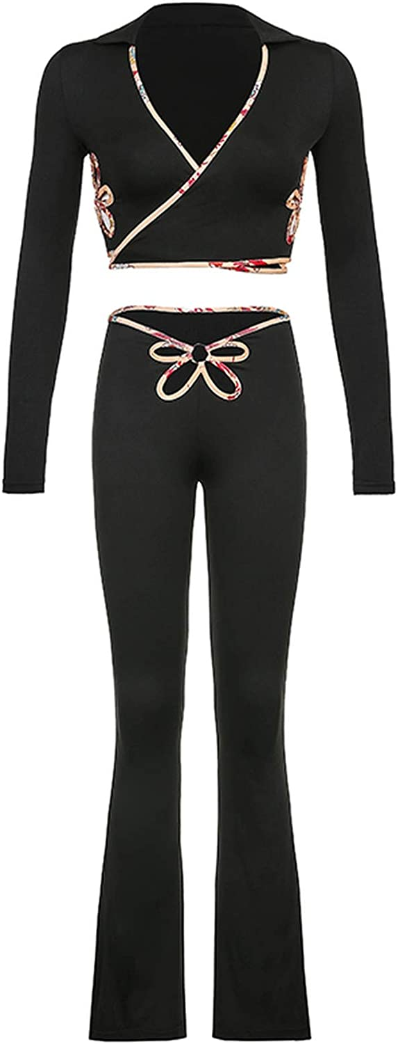Floral Hollow Out Sexy Women's Suits Two Pieces Of Sets Crop Tops and Aesthetic Flare Pants Outfits-Black-L