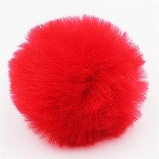 2pcs DIY Faux Fur Pom Pom Ball - 3inch- for Knitting Hat Supplies (Red)