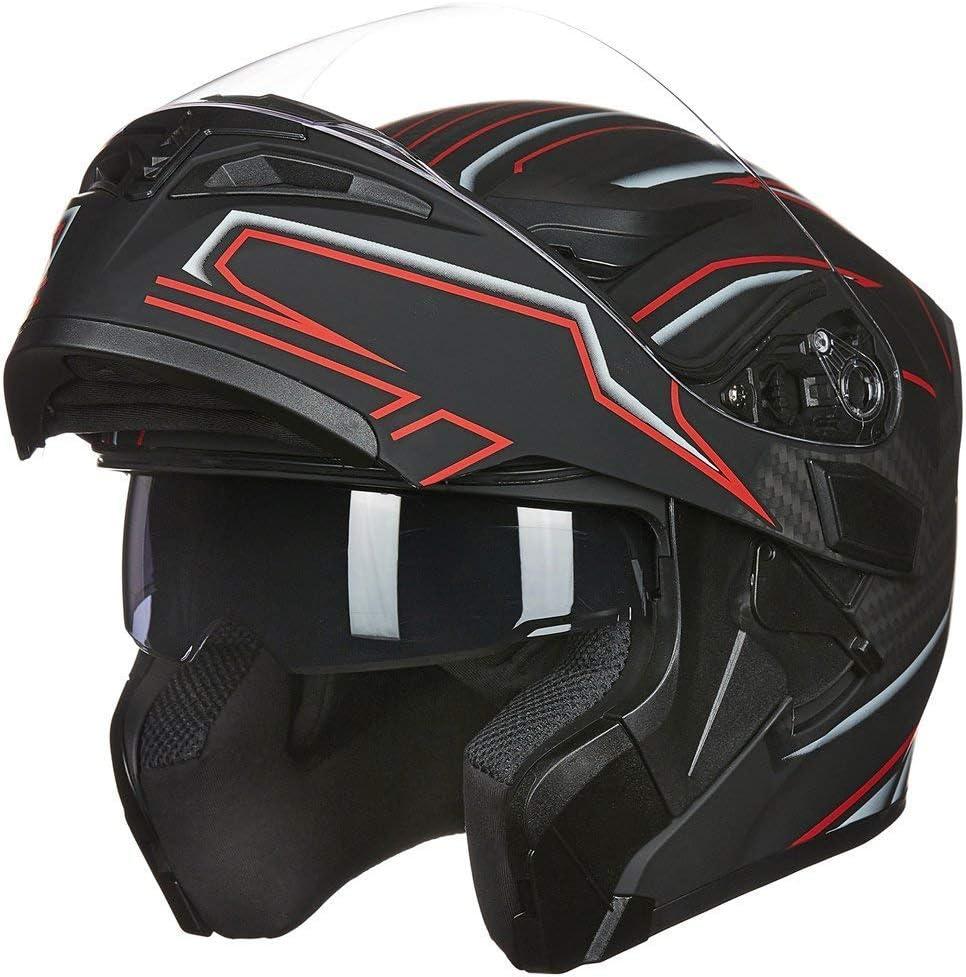 ILM Motorcycle Dual Visor Flip up Modular Full Face Helmet DOT 6 Colors (M, Black RED)