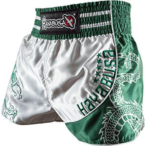 Hayabusa Sacred Muay Thai Shorts, Silver/Green, Medium