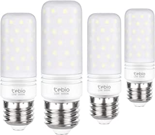 Tebio LED Plata Maíz Bombillas 15W E27 6000K Blanco Frío LED Candelabros bombillas, 120W Bombilla Incandescente Equivalente, 1500LM, LED vela Bombillas No regulables(4 Packs)