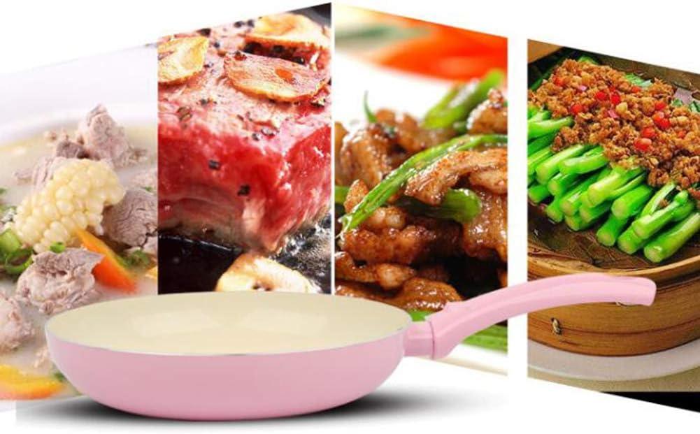 HELEN CURTAIN Poêles Antiadhésives Frire Cuivre Casserole avec Revêtement Céramique, Four À Induction Et Lave-Vaisselle, Cuisine, 30 Cm,Rose Blue