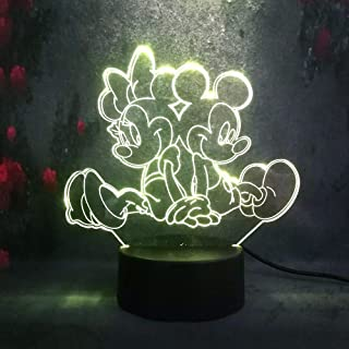 Amroe Mickey Minnie Mouse Cartoon 7 Color Change Remote Control 3D LED Night Light for Kid Baby Room Decorative Table Desk Lamp for Girl Bedroom